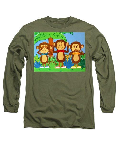 Three Monkeys No Evil Long Sleeve T-Shirt