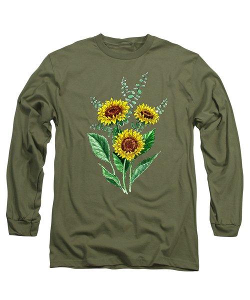 Three Playful Sunflowers Long Sleeve T-Shirt