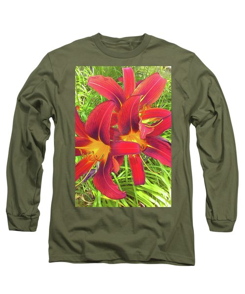 Three Red Tiger Lilies Long Sleeve T-Shirt