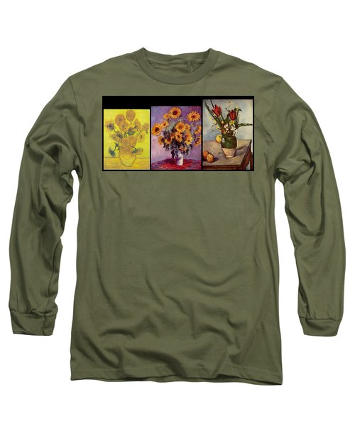 Three Vases Van Gogh - Cezanne Long Sleeve T-Shirt by David Bridburg