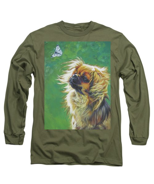 Tibetan Spaniel And Cabbage White Butterfly Long Sleeve T-Shirt by Lee Ann Shepard