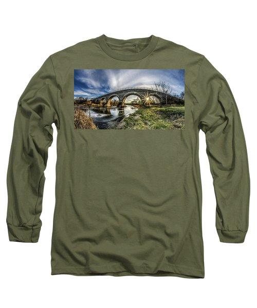 Tiffany Bridge Panorama Long Sleeve T-Shirt by Randy Scherkenbach