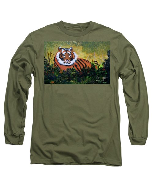 Long Sleeve T-Shirt featuring the painting Tiger At Rest by Myrna Walsh