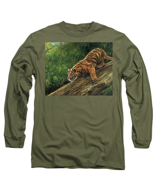 Long Sleeve T-Shirt featuring the painting Tiger Descending Tree by David Stribbling
