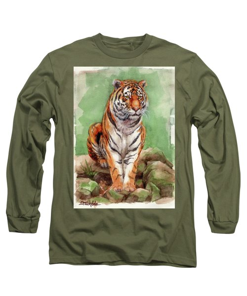 Long Sleeve T-Shirt featuring the painting Tiger Watercolor Sketch by Margaret Stockdale