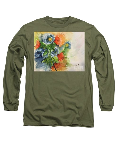 Long Sleeve T-Shirt featuring the painting Tigerlilies And Cornflowers by Lucia Grilletto