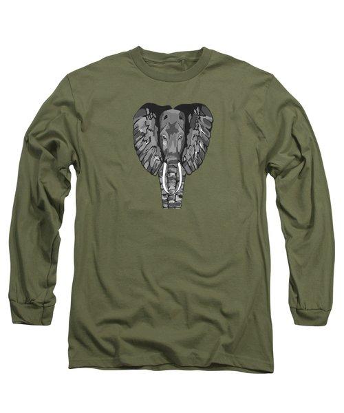 Tiled Elephants Long Sleeve T-Shirt by Kathleen Sartoris