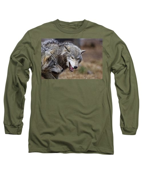 Long Sleeve T-Shirt featuring the photograph Timber Wolves by Michael Cummings