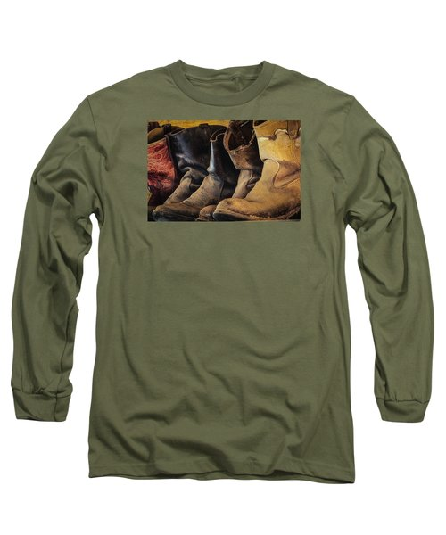 Long Sleeve T-Shirt featuring the photograph Tired Boots by Laura Pratt