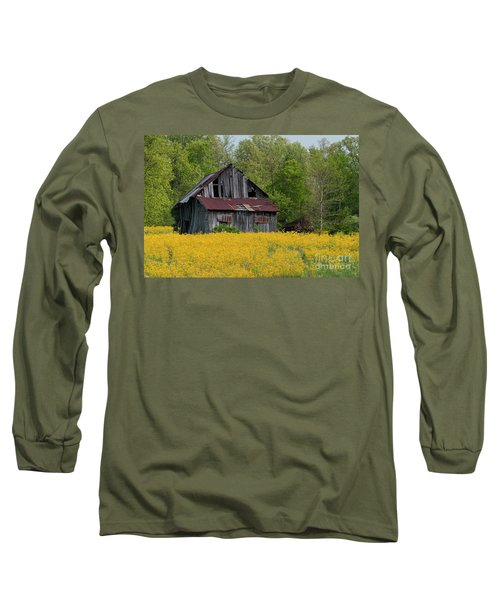 Long Sleeve T-Shirt featuring the photograph Tired Indiana Barn - D010095 by Daniel Dempster