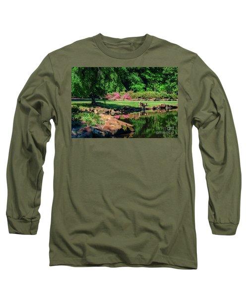 Taking A Break At The Azalea Pond Long Sleeve T-Shirt by Tamyra Ayles