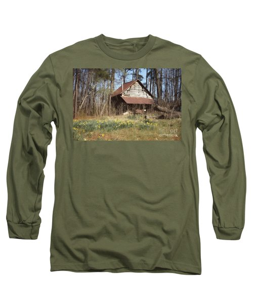 Long Sleeve T-Shirt featuring the photograph Tobacco Barn In Spring by Benanne Stiens