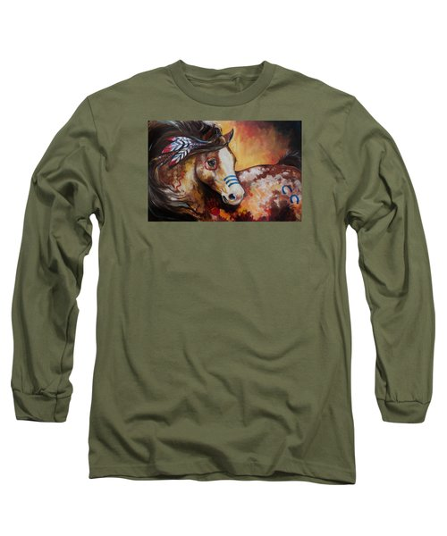 Tobiano Indian War Horse Long Sleeve T-Shirt by Marcia Baldwin
