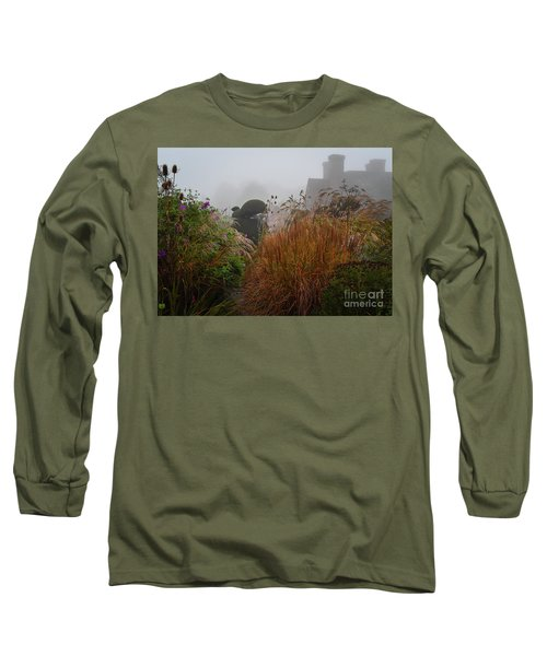Topiary Peacocks In The Autumn Mist, Great Dixter 2 Long Sleeve T-Shirt