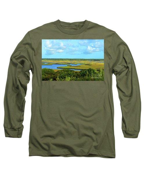 Topsail Island Marshland Long Sleeve T-Shirt by Eva Kaufman