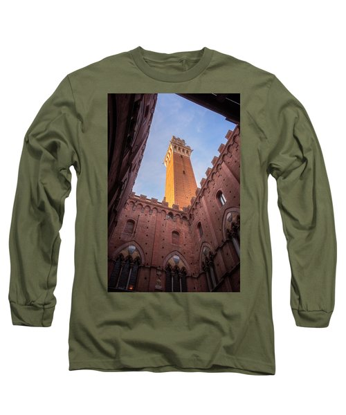 Long Sleeve T-Shirt featuring the photograph Torre Del Mangia Siena Italy by Joan Carroll