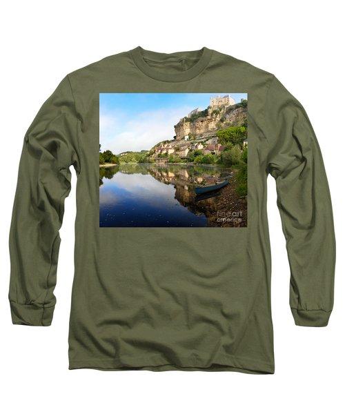 Town Of Beynac-et-cazenac Alongside Dordogne River Long Sleeve T-Shirt by IPics Photography