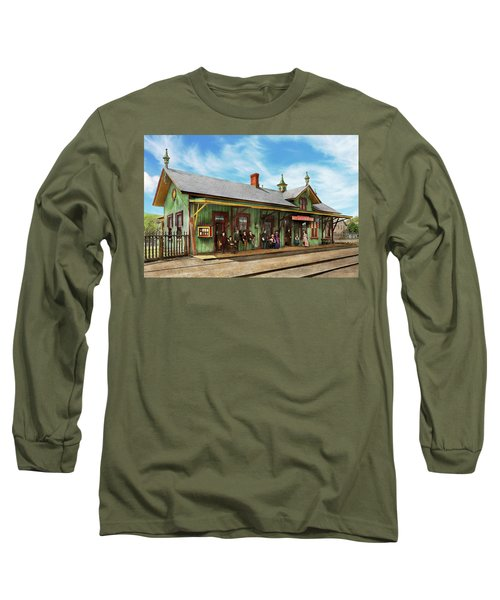 Long Sleeve T-Shirt featuring the photograph Train Station - Garrison Train Station 1880 by Mike Savad
