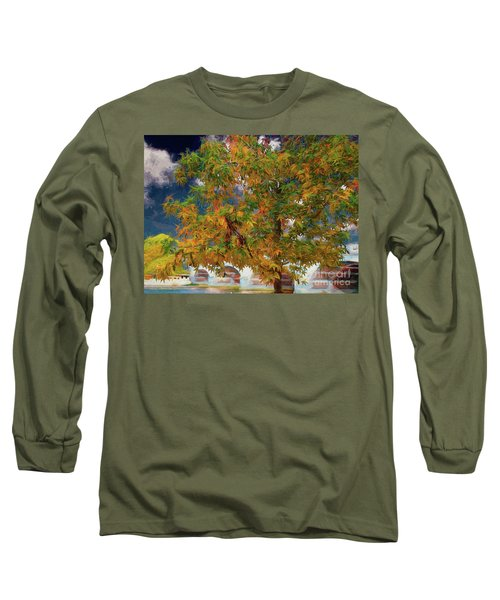 Long Sleeve T-Shirt featuring the digital art Tree By The Bridge by Leigh Kemp