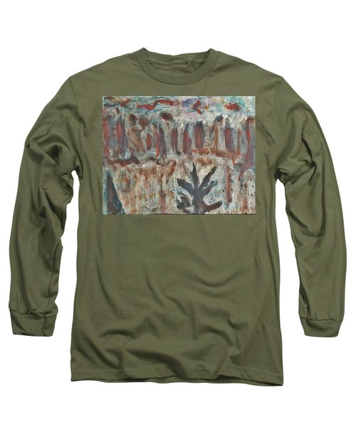 Long Sleeve T-Shirt featuring the painting Tree Facing Frozen Lake With Roiling Storm Clouds Rolling In From The Mountain Range Winter With Fal by MendyZ