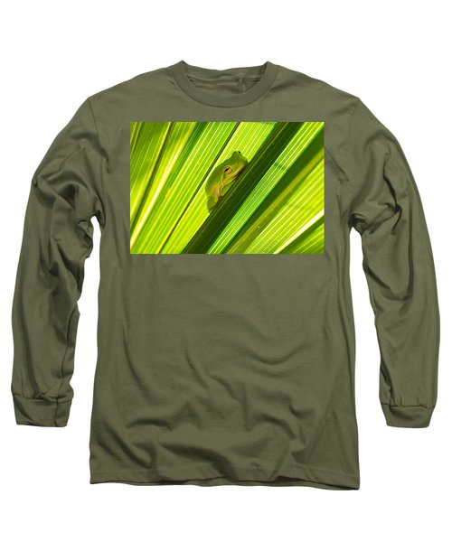 Tree Frog And Palm Frond Long Sleeve T-Shirt by Kenneth Albin