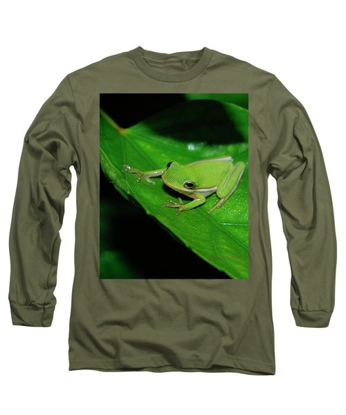 Tree Frog On Hibiscus Leaf Long Sleeve T-Shirt by DigiArt Diaries by Vicky B Fuller