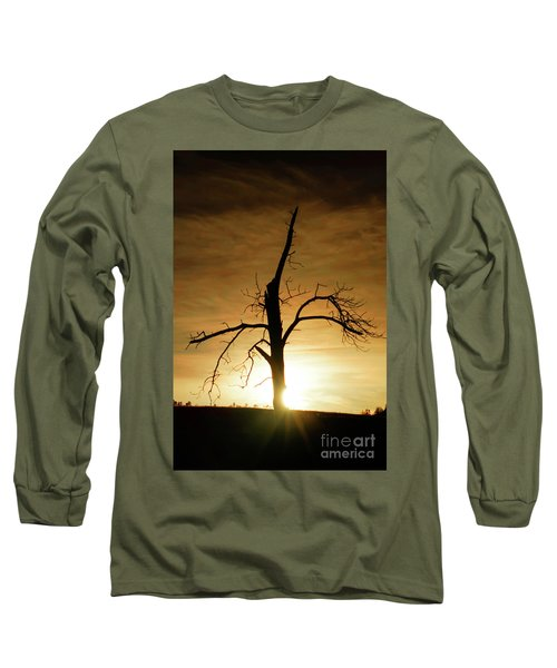 Tree Silhouette At Sundown Long Sleeve T-Shirt