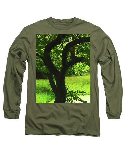 Tree Trunk Green Long Sleeve T-Shirt