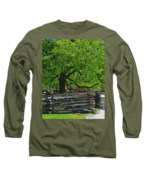Tree With Colonial Fence Long Sleeve T-Shirt