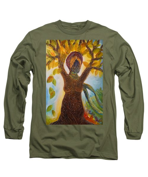 Tree Woman Long Sleeve T-Shirt by Theresa Marie Johnson