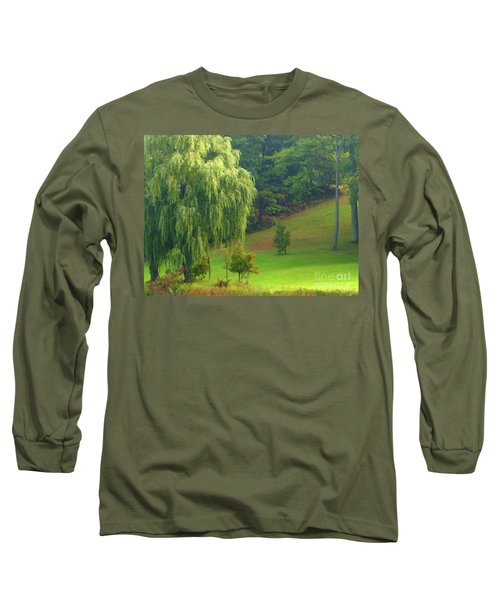Long Sleeve T-Shirt featuring the photograph Trees Along Hill by Rockin Docks Deluxephotos