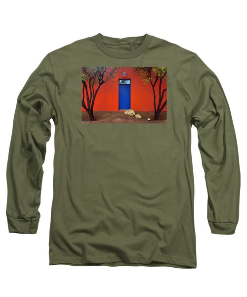 Long Sleeve T-Shirt featuring the photograph Trees And Door - Barrio Historico - Tucson by Nikolyn McDonald