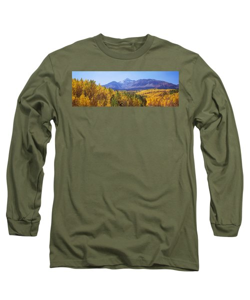 Trees In A Forest With Mountain Range Long Sleeve T-Shirt