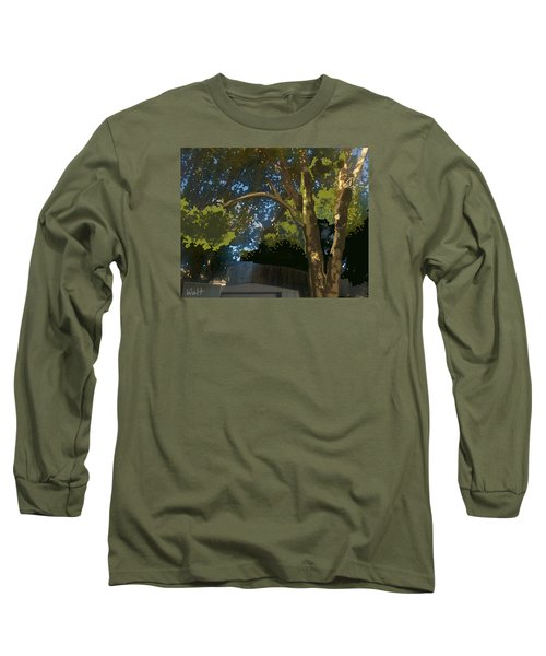 Long Sleeve T-Shirt featuring the digital art Trees In Park by Walter Chamberlain