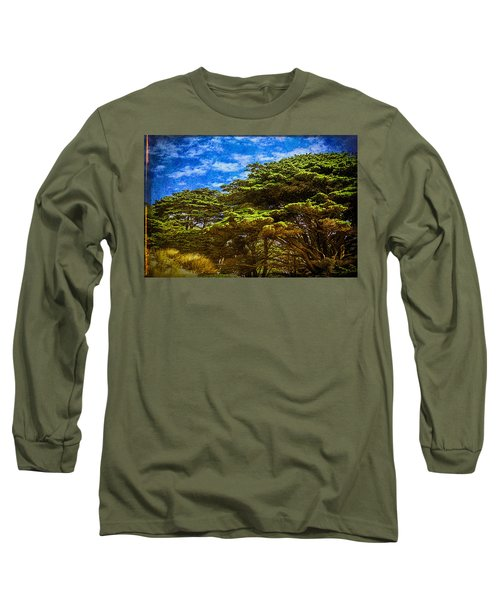 Trees On An Oregon Beach Long Sleeve T-Shirt by John Brink