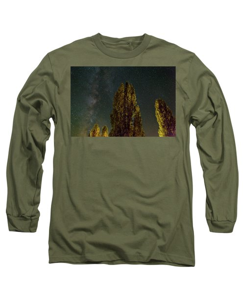 Trees Under The Milky Way On A Starry Night Long Sleeve T-Shirt