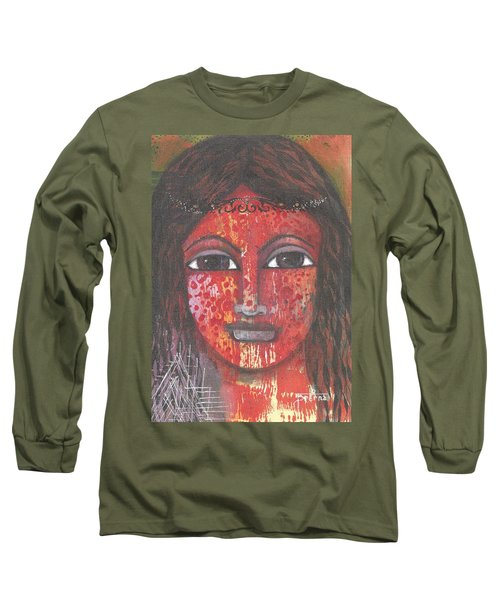 Long Sleeve T-Shirt featuring the mixed media Tribal Woman by Prerna Poojara