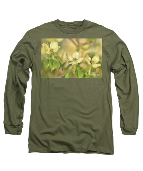 Triple Dogwood Blossoms In Evening Light Long Sleeve T-Shirt by Lois Bryan