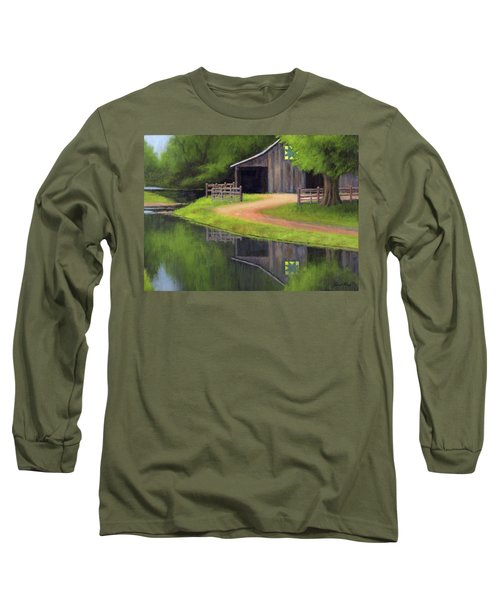 Long Sleeve T-Shirt featuring the painting Triple L Ranch  by Janet King