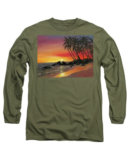 Long Sleeve T-Shirt featuring the painting Tropical Sunset by Roseann Gilmore