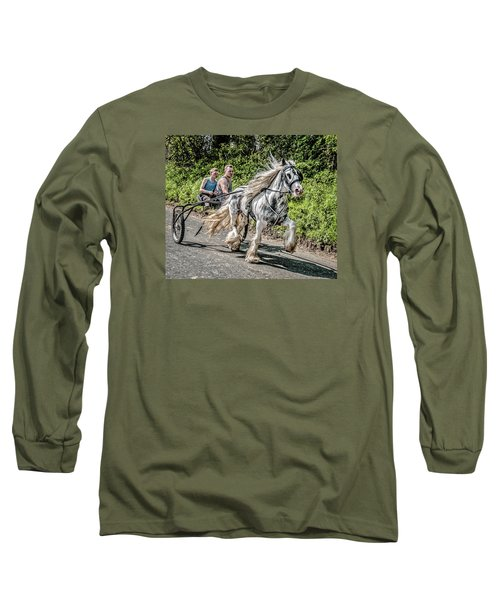 Long Sleeve T-Shirt featuring the photograph Trotting At Appleby Horse Fair by Brian Tarr