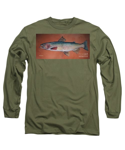 Long Sleeve T-Shirt featuring the painting Trout by Andrew Drozdowicz