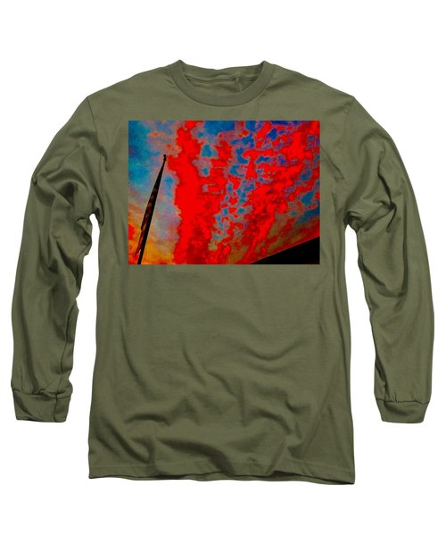Trump Red Sunset Meets American Flag Long Sleeve T-Shirt
