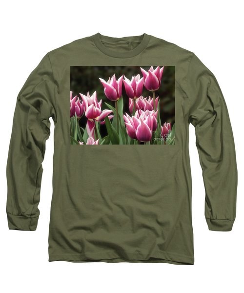 Tulips Bed  Long Sleeve T-Shirt by Kim Tran