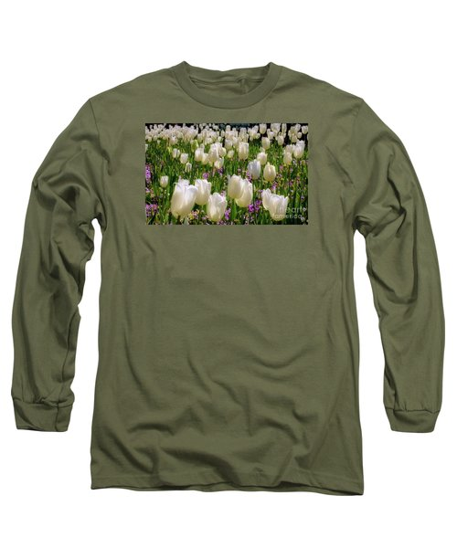 Tulips In White Long Sleeve T-Shirt