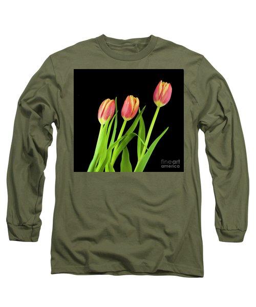 Tulips On Black Long Sleeve T-Shirt