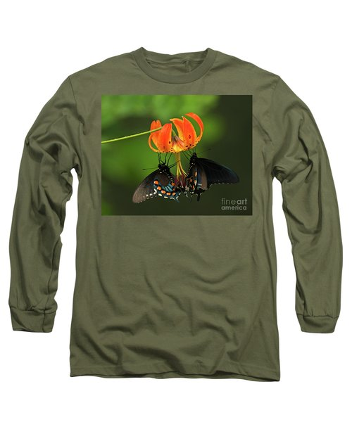 Turks Cap Lilly And Butterflies, Blue Ridge Parkway Long Sleeve T-Shirt