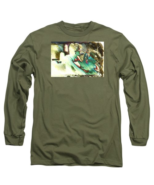 Long Sleeve T-Shirt featuring the digital art Turquoise Embrace by Andrea Barbieri