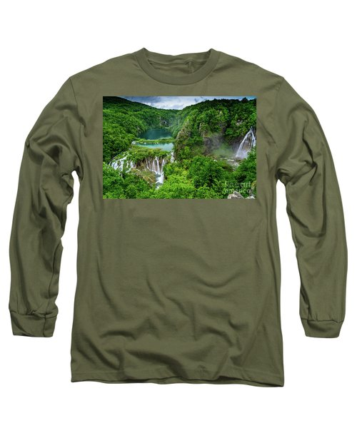 Turquoise Lakes And Waterfalls - A Dramatic View, Plitivice Lakes National Park Croatia Long Sleeve T-Shirt