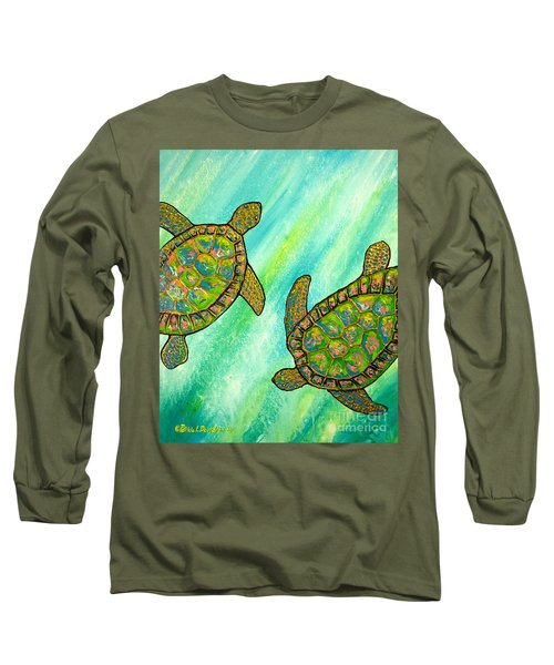 Long Sleeve T-Shirt featuring the painting Turtle Sea Dance by Patricia L Davidson